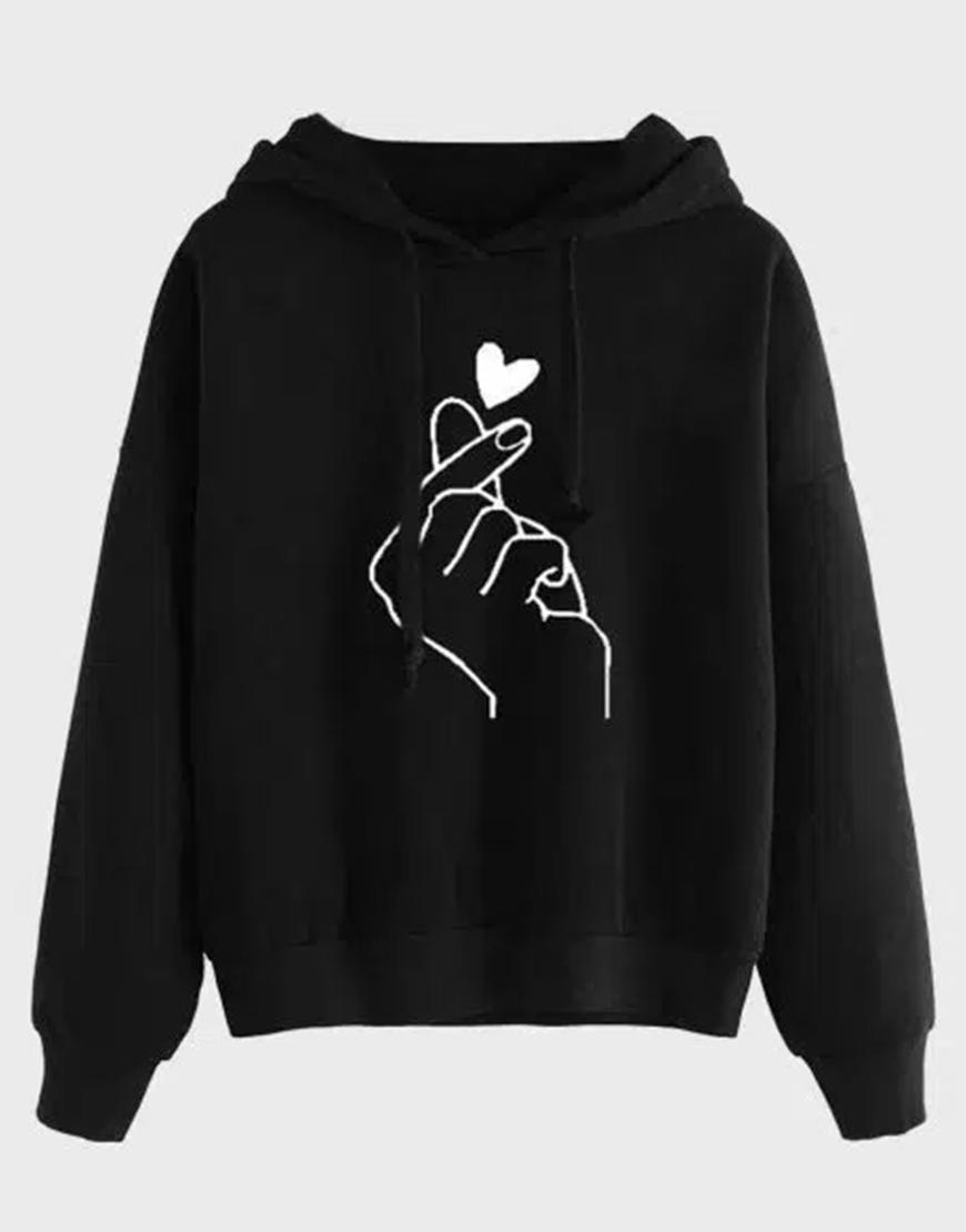 Women's Heart Love Oversized Pullover Hoodie