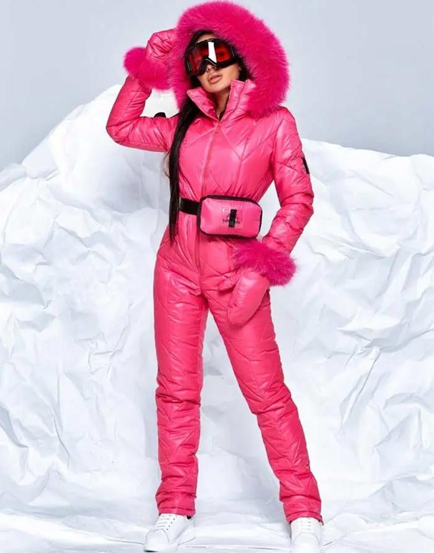 Women's Pink Puffer Ski Jumpsuit