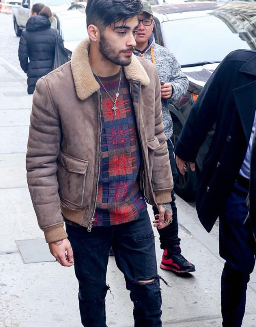 Zayn Malik Winter Bomber Faux Fur Collar Jacket