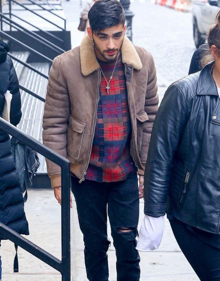 Zayn Malik Winter Bomber Style Faux Fur Collar Jacket